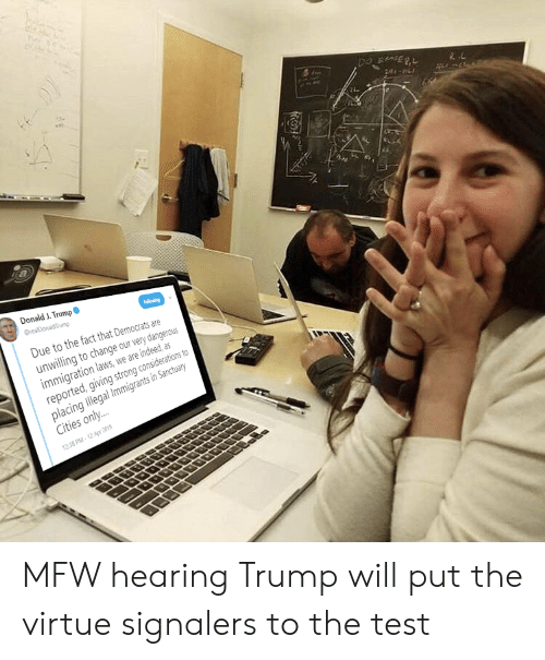 Mfw, Immigration, and Indeed: Donald J. Trump  Due to the fact that Democrats are  unlling to change our very dangerous  immigration laws, we are indeed, as  reported, giving strong considerations to  placing llegal limmigrants n Sancuary  Cities only...  2:38 PM-12 Apr 2019 MFW hearing Trump will put the virtue signalers to the test