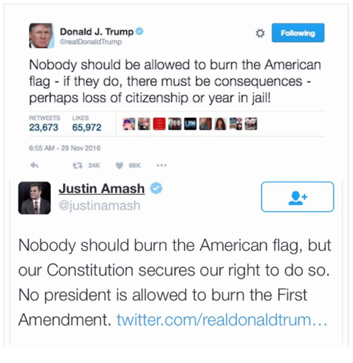 Jail, Memes, and American Flag: Donald J. Trump  Following  areal Donald Trump  Nobody should be allowed to burn the American  flag if they do, there must be consequences  perhaps loss of citizenship or year in jail!  RETWEETS LUKES  23,673 65,972  6:55 AM 29 Nov 2016  Justin Amash  ajustinamash  Nobody should burn the American flag, but  our Constitution secures our right to do so.  No president is allowed to burn the First  Amendment  twitter.com/realdonaldtrum...