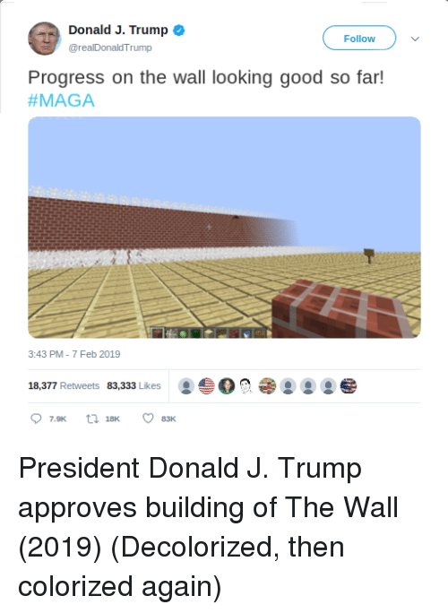 Maga: Donald J. Trump o  @realDonaldTrump  Follow  Progress on the wall looking good so far!  #MAGA  3:43 PM-7 Feb 2019  18,377 Retweets 83,333 Likes O President Donald J. Trump approves building of The Wall (2019) (Decolorized, then colorized again)