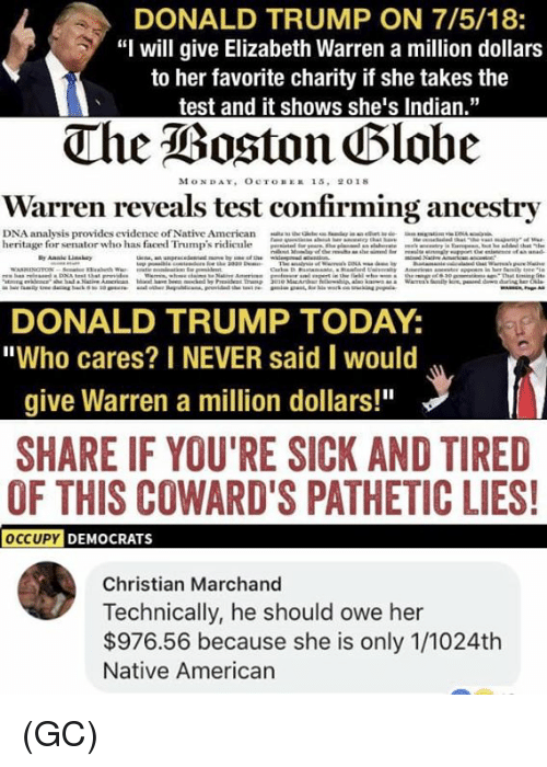 "Donald Trump, Elizabeth Warren, and Memes: DONALD TRUMP ON 7/5/18:  ""I will give Elizabeth Warren a million dollars  to her favorite charity if she takes the  test and it shows she's Indian,""  MONDAY, OcroBEE 15. 2018  Warren reveals test confirming ancestry  DNA analysis provides evidence of Native American  heritage for senator who has faced Trump's ridicule  ..a.wau  ""--' ""..ose-  ian.-..-""INA- 灬  DONALD TRUMP TODAY:  ""Who cares? I NEVER said would  give Warren a million dollars!""  SHARE IF YOU'RE SICK AND TIRED  OF THIS COWARD'S PATHETIC LIES  DEMOCRATS  Christian Marchand  Technically, he should owe her  $976.56 because she is only 1/1024th  Native American (GC)"