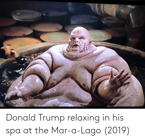 Donald Trump: Donald Trump relaxing in his spa at the Mar-a-Lago (2019)