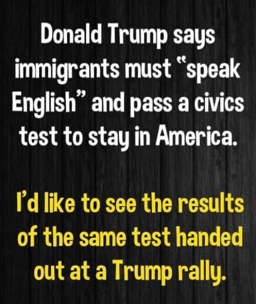 "America, Donald Trump, and Memes: Donald Trump says  immigrants must ""speak  English"" and pass a civics  test to stay in America  I'd like to see the results  of the same test handed  out at a Trump rally"