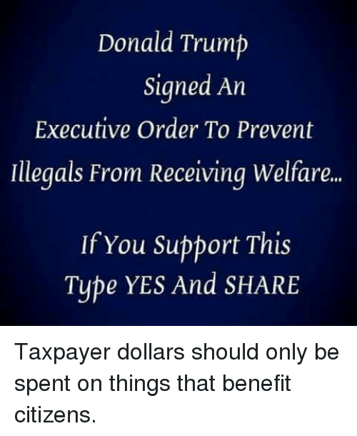 Donald Trump, Memes, and Trump: Donald Trump  Signed An  Executive Order To Prevent  Illegals From Receiving Welfare..  If You Support This  Type YES And SHARE Taxpayer dollars should only be spent on things that benefit citizens.