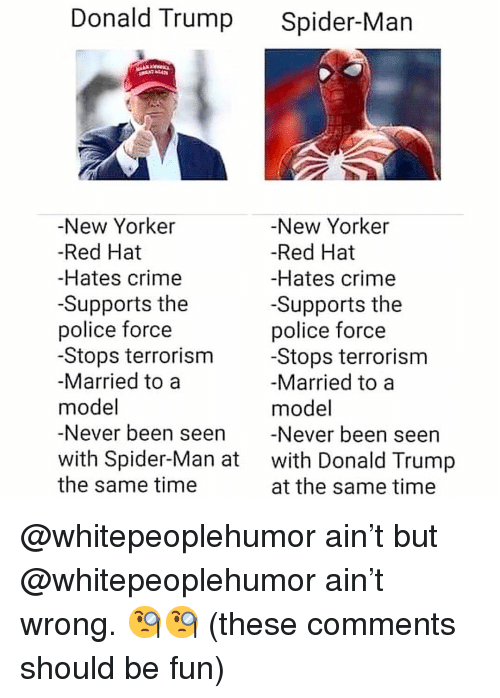 Crime, Donald Trump, and Memes: Donald Trump Spider-Man  New Yorker  -Red Hat  -Hates crime  -Supports the  police force  -Stops terrorism  Married to a  model  -Never been seen Never been seen  with Spider-Man at with Donald Trump  the same time  -New Yorker  -Red Hat  -Hates crime  -Supports the  police force  -Stops terrorism  Married to a  model  at the same time @whitepeoplehumor ain't but @whitepeoplehumor ain't wrong. 🧐🧐 (these comments should be fun)