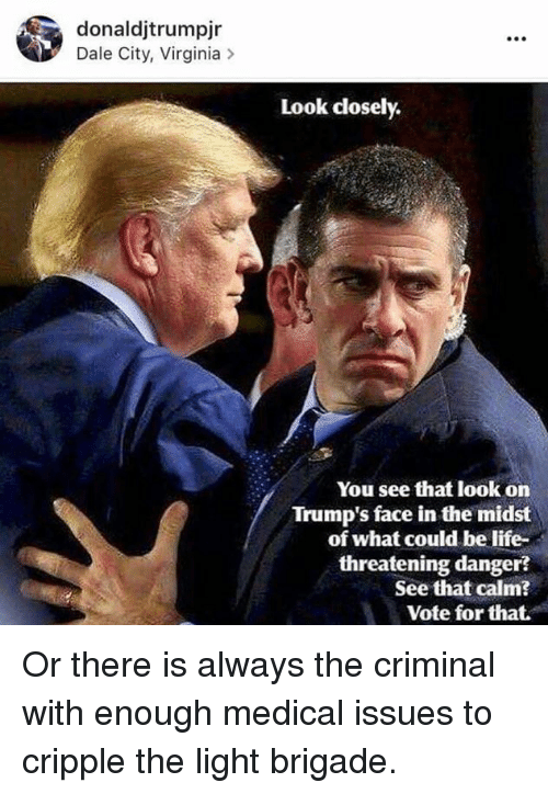 Brigading: donaldjtrumpjr  Dale City, Virginia  Look closely.  You see that look on  Trump's face in the midst  of what could be life-  threatening danger  See that calm?  Vote for that. Or there is always the criminal with enough medical issues to cripple the light brigade.