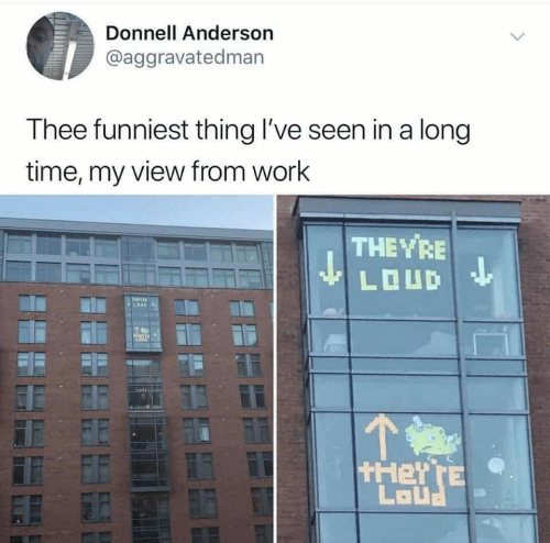 Work, Time, and They: Donnell Anderson  @aggravatedman  Thee funniest thing I've seen in a long  time, my view from work  THE YRE  LOUD  TEVI  tHeY TE  LaUנ