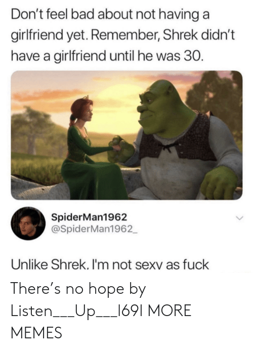 Hopee: Don't feel bad about not having a  girlfriend yet. Remember, Shrek didn't  have a girlfriend until he was 30.  SpiderMan1962  @SpiderMan1962  Unlike Shrek. I'm not sexv as fuck There's no hope by Listen___Up___l69l MORE MEMES