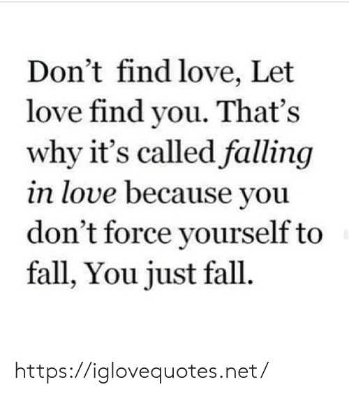 Fall, Love, and Net: Don't find love, Let  love find you. That's  why it's called falling  in love because you  don't force yourself to  fall, You just fall. https://iglovequotes.net/