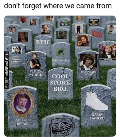conspiracy keanu: don't forget where we came from  TO SHALL  NOTPASS  EPIC  TWERE ALWAYS  ONE DOES NOT  SIMPIY  Overly  Attached  Girlfriend  ушоюнлгтол  CHUCK  NORRIS  *CONSPIRACY  KEANU  COOL  STORY  BRO  DAMN  DANIEL  BAD LUCK  BRIAN  f TheGAGFeed t.