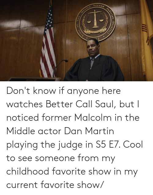 malcolm: Don't know if anyone here watches Better Call Saul, but I noticed former Malcolm in the Middle actor Dan Martin playing the judge in S5 E7. Cool to see someone from my childhood favorite show in my current favorite show/
