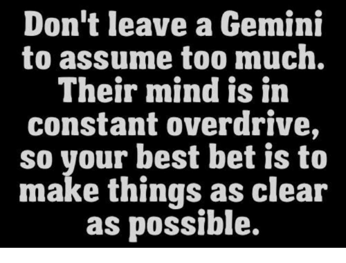 Too Much, Best, and Gemini: Don't leave a Gemini  to assume too much.  Their mind is in  constant overdrive,  so your best bet is to  make things as clear  as possible.