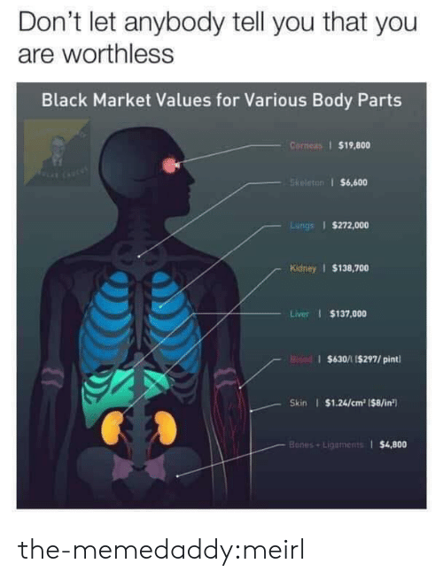 values: Don't let anybody tell you that you  are worthless  Black Market Values for Various Body Parts  Corneas $19,800  Skeleton $6,600  Lungs $272,000  Kidney $138,700  Liver $137,000  Bisad $630/11$297/ pint  Skin $1.24/cm2 (8/in  Bones+Lipaments $4,800 the-memedaddy:meirl