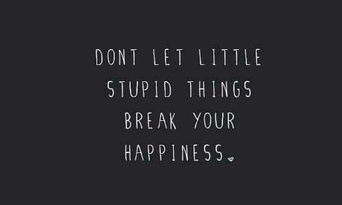your happiness: DONT LET LITTLE  STUPID THINGS  BREAK YOUR  HAPPINESS
