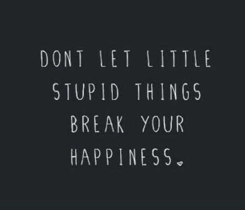 your happiness: DONT LET LITTLt  STUPID THINGS  BREAK YOUR  HAPPINESS