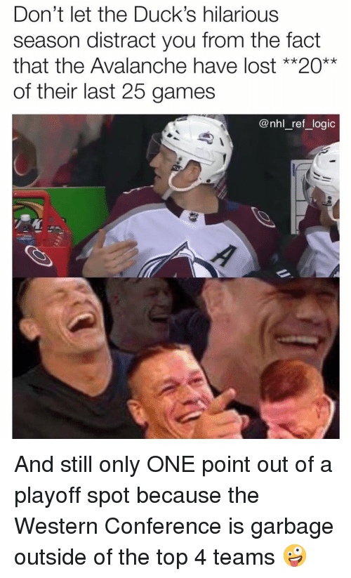 Point Out: Don't let the Duck's hilarious  season distract you from the fact  that the Avalanche have lost **20**  of their last 25 games  @nhl_ref_logic And still only ONE point out of a playoff spot because the Western Conference is garbage outside of the top 4 teams 🤪