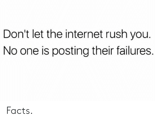 Facts, Internet, and Rush: Don't let the internet rush you  No one is posting their failures. Facts.