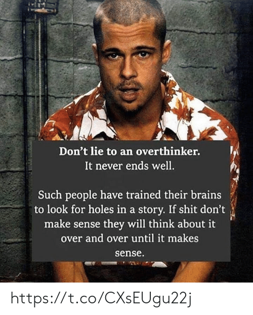 Brains, Memes, and Shit: Don't lie to an overthinker.  It never ends well.  Such people have trained their brains  to look for holes in a story. If shit don't  make sense they will think about it  over and over until it makes  sense https://t.co/CXsEUgu22j