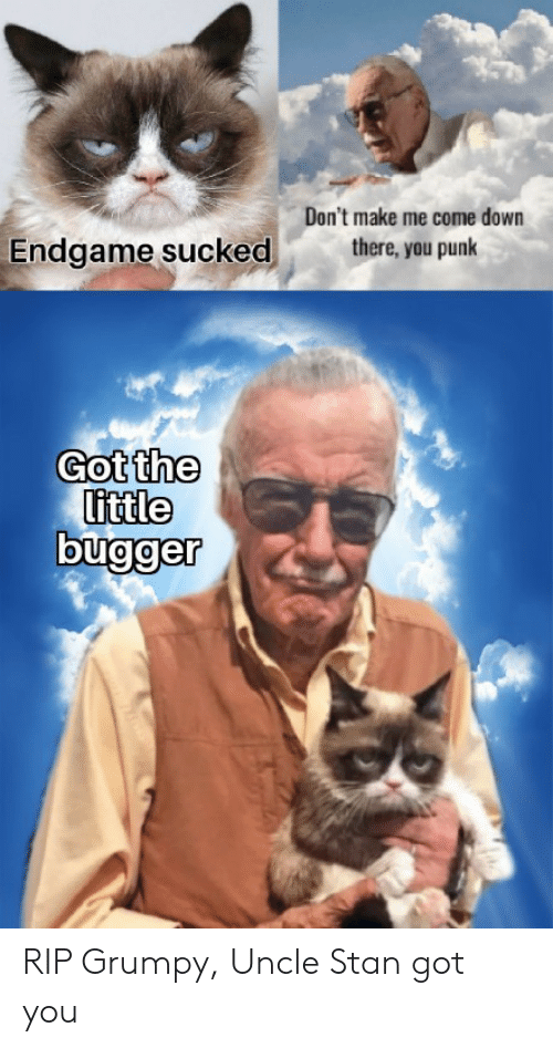 Stan, Got, and Punk: Don't make me come down  there, you punk  Endgame sucked  Got the  little RIP Grumpy, Uncle Stan got you