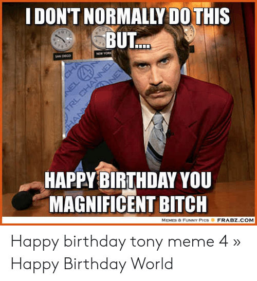 Tony Meme: DON'T NORMALLY DO THIS  BUT  HAPPYBIBTHDAY YOU  MAGNIFICENT BITCH  MEMES & FUNNY PICSFRA BZ.COM Happy birthday tony meme 4 » Happy Birthday World