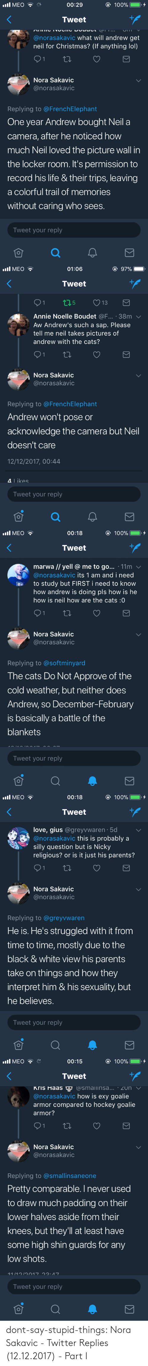 nora: dont-say-stupid-things:  Nora Sakavic - Twitter Replies (12.12.2017) - Part I