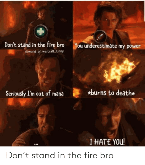 Burns: Don't stand in the fire bro  world of warcraft funny  You underestimate my power  *burns to death*  Seriously I'm out of mana  I HATE YOU! Don't stand in the fire bro