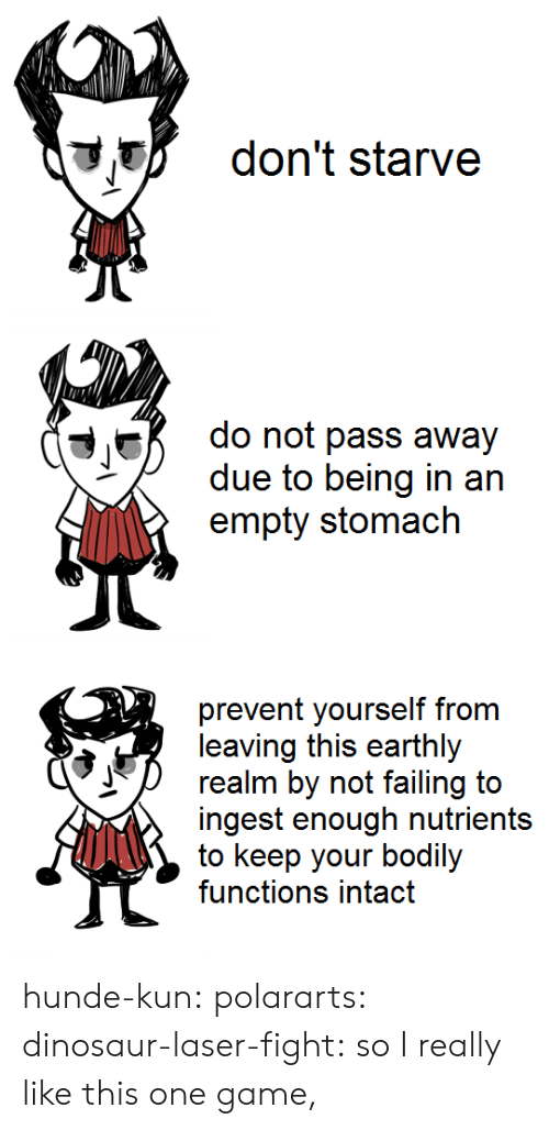 Empty Stomach: don't starve   do not pass away  due to being in an  empty stomach   prevent yourself from  leaving this earthly  realm by not failing to  ingest enough nutrients  to keep your bodily  functions intact hunde-kun:  polararts:  dinosaur-laser-fight: so I really like this one game,