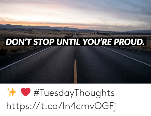 Memes, Proud, and 🤖: DON'T STOP UNTIL YOU'RE PROUD. ✨ ❤️  #TuesdayThoughts https://t.co/In4cmvOGFj