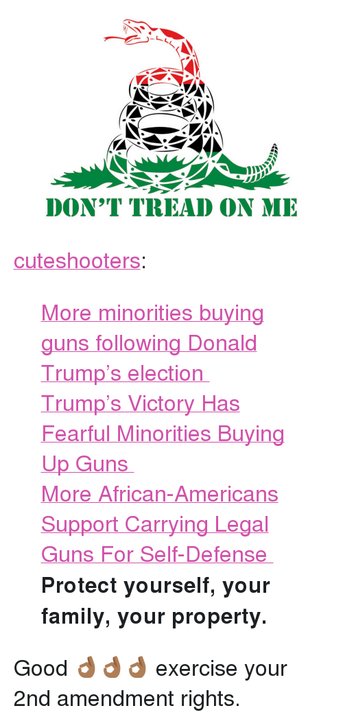 "Donald Trump, Family, and Guns: DON'T TREAD ON MI <p><a href=""http://cuteshooters.tumblr.com/post/153790217370/more-minorities-buying-guns-following-donald"" class=""tumblr_blog"">cuteshooters</a>:</p><blockquote> <p><a href=""http://www.nydailynews.com/news/national/minorities-buying-guns-donald-trump-election-article-1.2886437"">  More minorities buying guns following Donald Trump's election  </a><br/></p> <p><a href=""http://www.nbcnews.com/business/consumer/trump-s-victory-has-fearful-minorities-buying-guns-n686881"">  Trump's Victory Has Fearful Minorities Buying Up Guns  </a><br/></p> <p><a href=""http://www.npr.org/2015/04/02/396869889/more-african-americans-support-carrying-legal-guns-for-self-defense"">  More African-Americans Support Carrying Legal Guns For Self-Defense  </a><br/></p> <p><b>Protect yourself, your family, your property.</b></p> </blockquote> <p>Good 👌🏾👌🏾👌🏾 exercise your 2nd amendment rights.</p>"