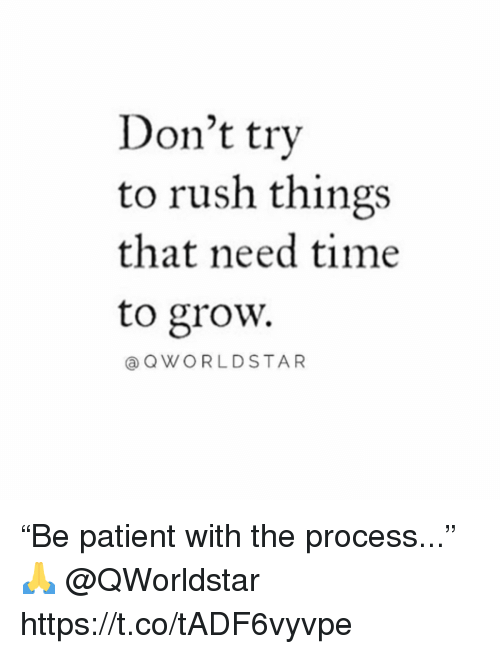 """Patient, Rush, and Time: Don't try  to rush things  that need time  to grow.  @QWORLDSTAR """"Be patient with the process..."""" 🙏 @QWorldstar https://t.co/tADF6vyvpe"""