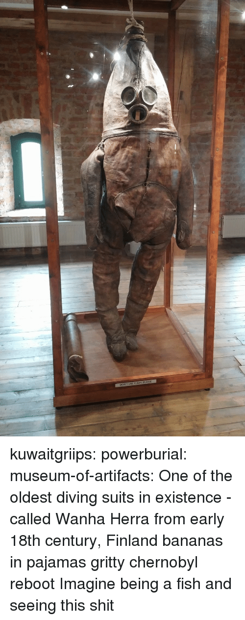 18Th Century: DON'T USE FLASH, PLEASE kuwaitgriips:  powerburial:  museum-of-artifacts: One of the oldest diving suits in existence - called   Wanha Herra from early 18th century, Finland  bananas in pajamas gritty chernobyl reboot   Imagine being a fish and seeing this shit