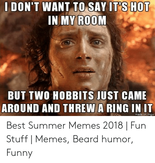 Summer Memes 2018: DON'T WANT TO SAY IT SHOT  1N MY ROOM  BUT TWO HOBBITS JUST CAME  AROUND AND THREW A RING IN IT  made on imaur Best Summer Memes 2018 | Fun Stuff | Memes, Beard humor, Funny
