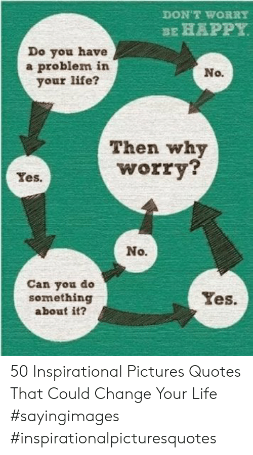 Do Something About: DON'T WORRY  BE HAPPY  Do you have  a problem in  your life?  No.  Then why  worry?  Yes.  No.  Can you do  something  about it?  Yes 50 Inspirational Pictures Quotes That Could Change Your Life #sayingimages #inspirationalpicturesquotes