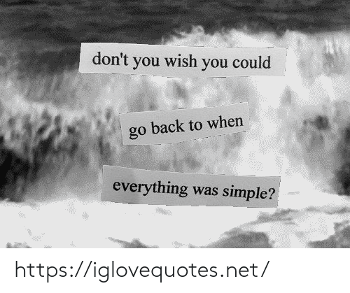 Back, Simple, and Net: don't you wish you could  go back to when  everything was simple? https://iglovequotes.net/