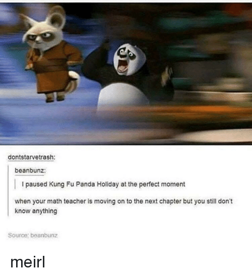 kung fu: dontstarvetrash:  beanbunz:  I paused Kung Fu Panda Holiday at the perfect moment  when your math teacher is moving on to the next chapter but you still don't  know anything  Source: beanbunz meirl