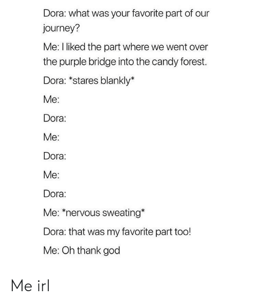 Candy, God, and Journey: Dora: what was your favorite part of our  journey?  Me: I liked the part where we went over  the purple bridge into the candy forest.  Dora: *stares blankly*  Me:  Dora:  Me:  Dora:  Me:  Dora:  Me: *nervous sweating*  Dora: that was my favorite part too!  Me: Oh thank god Me irl