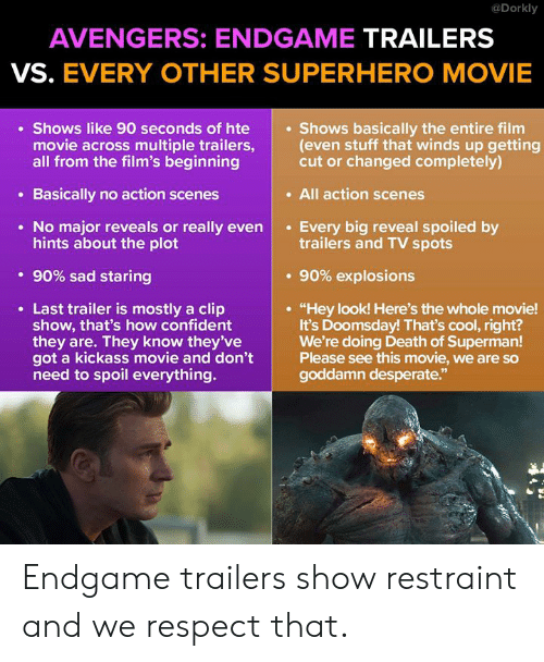 "Desperate, Memes, and Respect: @Dorkly  AVENGERS: ENDGAME TRAILERS  VS. EVERY OTHER SUPERHERO MOVIE  Shows like 90 seconds of hte  movie across multiple trailers,(even stuff that winds up getting  all from the film's beginning  Shows basically the entire film  cut or changed completely)  . All action scenes  Basically no action scenes  No major reveals or really evenEvery big reveal spoiled by  hints about the plot  trailers and TV spots  . 90% sad staring  . 90% explosions  Last trailer is mostly a clip  show, that's how confident  they are. They know they've  got a kickass movie and don't  need to spoil everything.  ""Hey look! Here's the whole movie!  It's Doomsday! That's cool, right?  We're doing Death of Superman!  Please see this movie, we are so  goddamn desperate.""  92 Endgame trailers show restraint and we respect that."