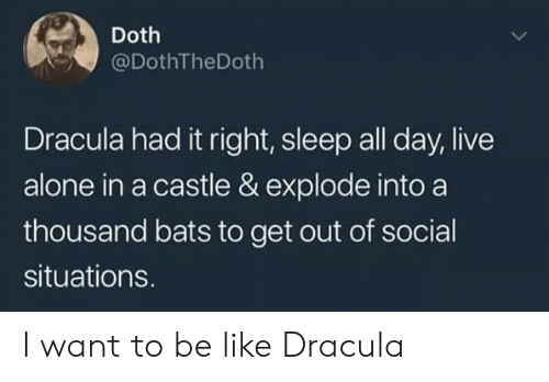 Dracula: Doth  @DothTheDoth  Dracula had it right, sleep all day, live  alone in a castle & explode into a  thousand bats to get out of social  situations. I want to be like Dracula