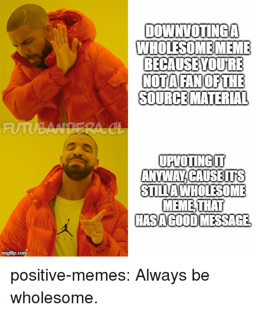 Meme, Memes, and Tumblr: DOWNVOTINGA  WHOLESOME MEME  BECAUSEYOUIRE  NOTAFANOFTHE  SOURCEMATERIAL  UPVOTINGT  ANYWAY CAUSETS  STILLA WHOLESOME  MEME,THAT  HASAGOOD MESSAGE positive-memes:  Always be wholesome.