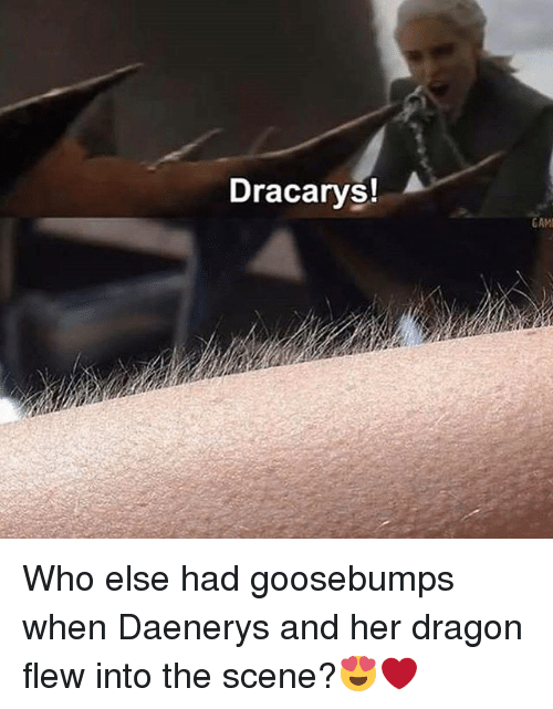 Dracarys: Dracarys!  GAM Who else had goosebumps when Daenerys and her dragon flew into the scene?😍❤