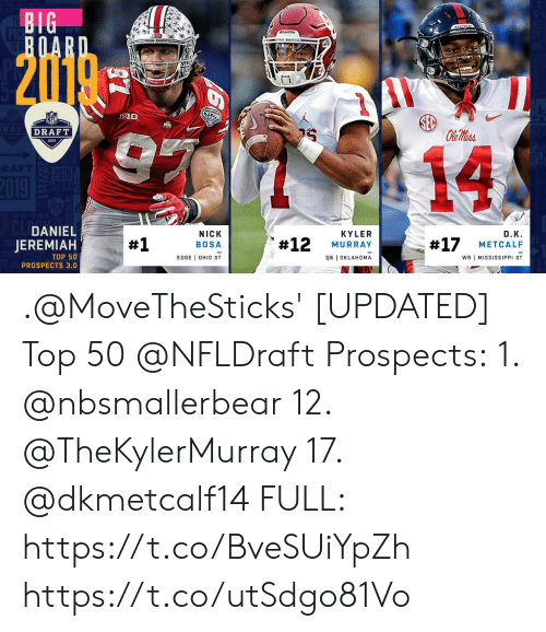 Memes, Mississippi, and Nick: DRAFT  14  DANIEL  JEREMIAH  NICK  BOSA  EDGE I OHIO ST  KYLER  MURRAY  QB I OKLAHOMA  D.Κ.  #17 METCALF  #1  #12  TOP 50  PROSPECTS 3.0  WR I MISSISSIPPI ST .@MoveTheSticks' [UPDATED] Top 50 @NFLDraft Prospects:  1. @nbsmallerbear 12. @TheKylerMurray   17. @dkmetcalf14  FULL: https://t.co/BveSUiYpZh https://t.co/utSdgo81Vo