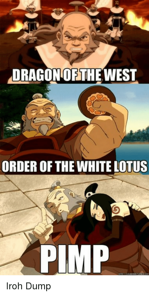 Lotus, White, and Pimp: DRAGON OFTHEWEST  ORDER OF THE WHITE LOTUS  PIMP Iroh Dump