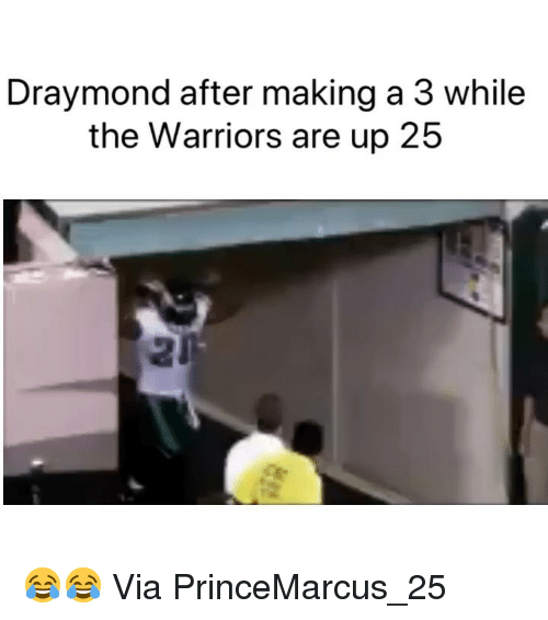 Basketball, Nba, and Sports: Draymond after making a 3 while  the Warriors are up 25 😂😂 Via PrinceMarcus_25 