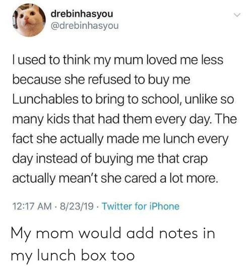 Iphone, School, and Twitter: drebinhasyou  @drebinhasyou  lused to think my mum loved me less  because she refused to buy  Lunchables to bring to school, unlike so  many kids that had them every day. The  fact she actually made me lunch every  day instead of buying me that crap  actually mean't she cared a lot more.  12:17 AM 8/23/19 Twitter for iPhone My mom would add notes in my lunch box too