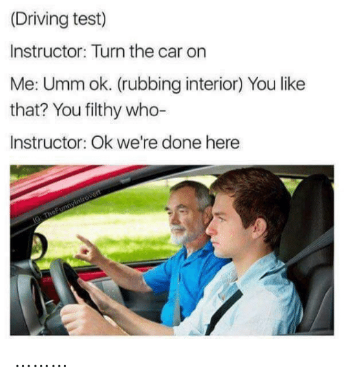 Driving: (Driving test)  Instructor: Turn the car on  Me: Umm ok. (rubbing interior) You like  that? You filthy who-  Instructor: Ok we're done here  IG: TheFunnyintrovert ………