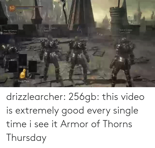 Time I: drizzlearcher:  256gb: this video is extremely good every single time i see it   Armor of Thorns Thursday
