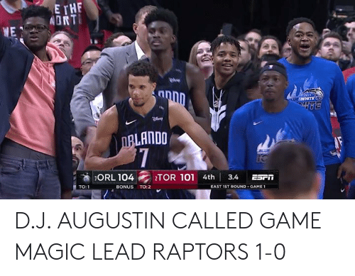 Espn, Game, and Magic: DRT  NE  1  LANDO  ORL 104 1TOR101 4th! 3.4 ESPn  TO:1  BONUS TO:2  EAST 1ST ROUND - GAME 1 D.J. AUGUSTIN CALLED GAME  MAGIC LEAD RAPTORS 1-0