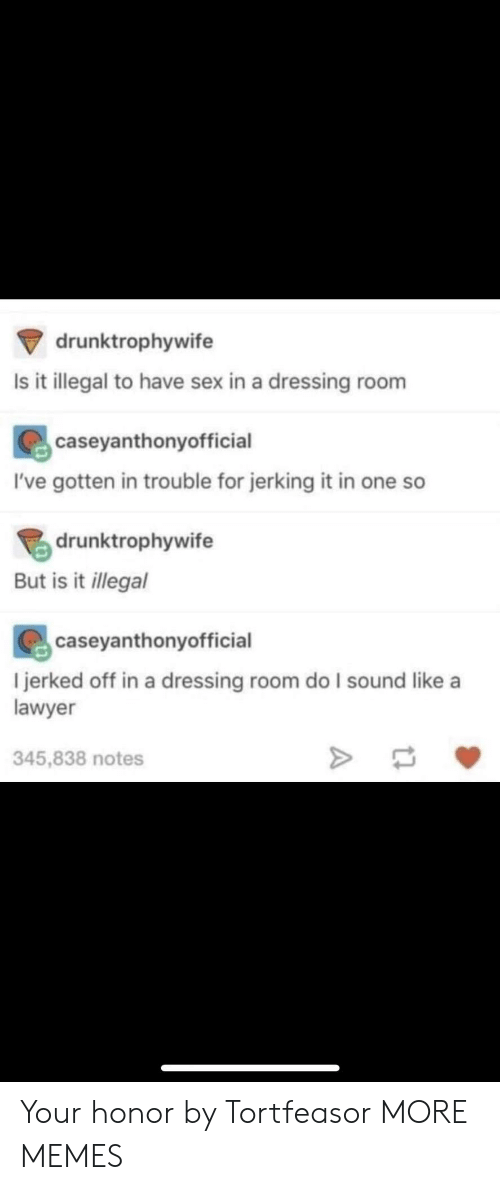 Ives: drunktrophywife  Is it illegal to have sex in a dressing room  caseyanthonyofficial  I've gotten in trouble for jerking it in one so  drunktrophywife  But is it llegal  caseyanthonyofficial  l jerked off in a dressing room do I sound like a  lawyer  345,838 notes Your honor by Tortfeasor MORE MEMES