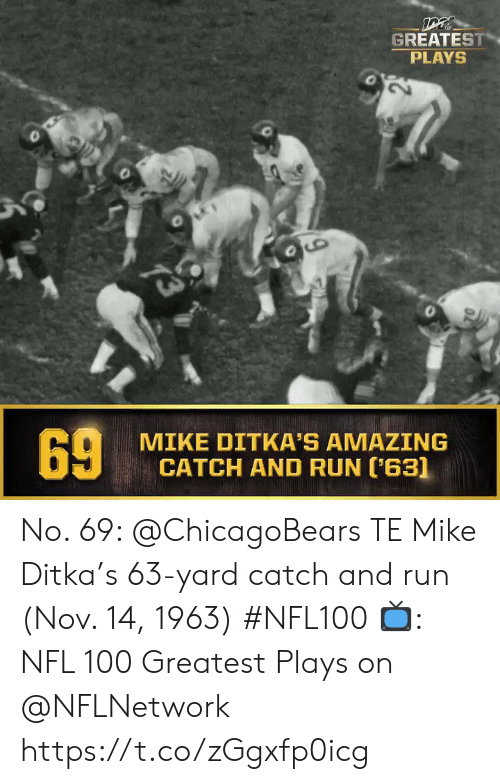 chicagobears: DT  GREATEST  PLAYS  73  MIKE DITKA'S AMAZING  CATCH AND RUN (63]  69 No. 69: @ChicagoBears TE Mike Ditka's 63-yard catch and run (Nov. 14, 1963) #NFL100  ?: NFL 100 Greatest Plays on @NFLNetwork https://t.co/zGgxfp0icg