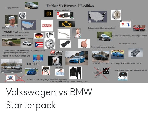 """Bmw, Chewbacca, and Honda: Dubber Vs Bimmer US edition  Crappy electronics  Crappy electronics  JB  KRISPY  DSG Farts  Exhaust sounds like a smokers laugh  VDUB YO! DSG Vs Manual  Probably named Matthew or Kyle  DEUTSCHLAND  No one can understand their engine codes  Its bimmer not beemer  Either really clean or thrashed  Exhaust sounds Like chewbacca(VR6), Generic turbo 4  cylinder or an agricultural vehicle  ECS  TUNING  """"Ya Bro I'm like 40% German, Bro""""  WHAT TIMEST2  E39 M5, The second coming of Christ in sedan form  H20i,BRO!  Time to fix it  """"Well ahkshually it has the N55 not N54""""  INFINITI  If there's no check engine light, its not working properly  SUBAAL  HONDA  Feels superior to Camrys, Altimas, Sonatas, CRV'S Volkswagen vs BMW Starterpack"""