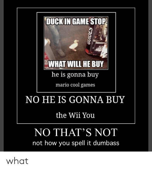 Game Stop: DUCK IN GAME STOP  ALA  WHAT WILL HE BUY  he is gonna buy  mario cool games  NO HE IS GONNA BUY  the Wii You  NO THAT'S NOT  not how you spell it dumbass  GUIDES what